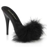 svart 13 cm POISE-501F marabou fjær høye sko mules