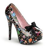 svart 14,5 cm Burlesque TEEZE-12-4 høye damesko med hæl