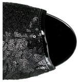 svart 15 cm DELIGHT-1008SQ dame ankelstøvletter med paljetter