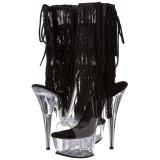 svart 15 cm DELIGHT-1017TF høye ankelstøvletter med frynser til dame
