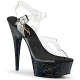 svart 15 cm Pleaser DELIGHT-608MG glitter sko med høye hæler