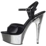 svart 15 cm Pleaser DELIGHT-609 krom platå høye hæler