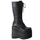 svart 15 cm WAVE-302 lolita støvler gothic platå tykke såler