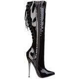 svart 16 cm DAGGER-2064 fetish støvler til dame med hæl