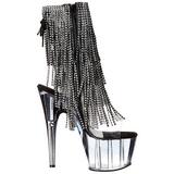 svart 18 cm ADORE-1017RSFT høye ankelstøvletter med frynser til dame