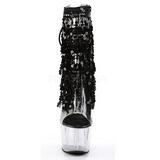 svart 18 cm ADORE-1017SQF paljetter ankelstøvletter med frynser