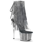 svart 18 cm ADORE-1017SRS høye ankelstøvletter med frynser til dame