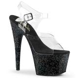 svart 18 cm ADORE-708MG glitter platå høye hæler dame