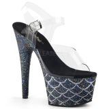 svart 18 cm ADORE-708MSLG glitter platå sandaler dame