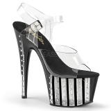 svart 18 cm ADORE-708VLRS high heels platå med strassteiner