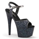 svart 18 cm ADORE-710LG glitter platå høye hæler dame