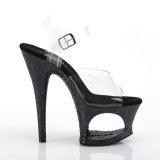 svart 18 cm MOON-708LG glitter platå høye hæler dame
