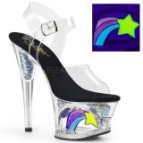 svart 18 cm MOON-708RSS neon platå høye hæler dame