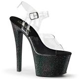 svart 18 cm Pleaser SKY-308MG glitter sko med høye hæler