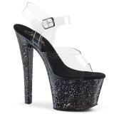 svart 18 cm SKY-308LG glitter platå høye hæler dame