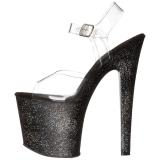 svart 19 cm TABOO-708MG glitter platå høye hæler dame