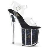 svart 20 cm FLAMINGO-808GF glitter platå høye hæler dame