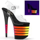 svart 20 cm FLAMINGO-808UVLN høyhælte sandaler neon platå