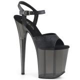 svart 20 cm FLAMINGO-809T akryl platå høye hæler dame