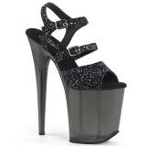 svart 20 cm FLAMINGO-874 glitter platå sandaler dame