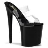 svart 20 cm Pleaser FLAMINGO-802 høyhælte slipper damer sko