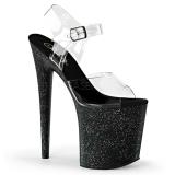 svart 20 cm Pleaser FLAMINGO-808MG glitter sko med høye hæler