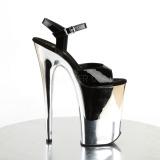 svart 23 cm INFINITY-909 krom platå høye hæler sko