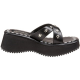 svart 6,5 cm FLIP-05 platå gothic flip flops til dame