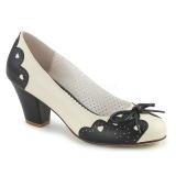 svart 6,5 cm retro vintage WIGGLE-17 pinup pumps sko med blokkhæl