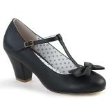 svart 6,5 cm retro vintage WIGGLE-50 pinup pumps sko med blokkhæl