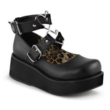svart 6 cm SPRITE-02 lolita sko gothic platåsko med tykke såler