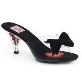 svart 7,5 cm BELLE-301BOW pinup mules sko med sløyfe