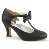 svart 7,5 cm FLAPPER-11 pinup pumps sko med lave hæler