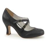 svart 7,5 cm FLAPPER-35 pinup pumps sko med lave hæler