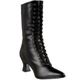 svart 7 cm VICTORIAN-120 dame ankelstøvletter med snøring