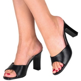 svart 8,5 cm ROMANCE-301-2 høye slip in sko til menn