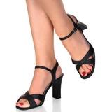 svart 8,5 cm ROMANCE-313 dame sandaletter lavere hæl