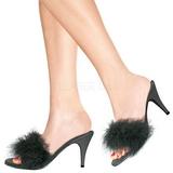 svart 8 cm AMOUR-03 marabou fjær høye sko mules