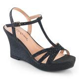 svart 8 cm SILVIE-20 wedge sandaler med kilehæl