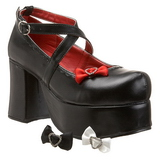svart 9,5 cm ABBEY-03 lolita sko gothic platåsko med tykke såler