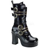 svart 9,5 cm GOTHIKA-100 lolita ankelstøvler gothic platå tykke såler