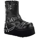 svart 9 cm CLASH-430 lolita ankelstøvler gothic platå tykke såler
