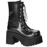 svart 9 cm RANGER-301 lolita ankelstøvler gothic platå tykke såler