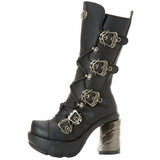 svart 9 cm SINISTER-203 høye platåstøvler til dame med spenner