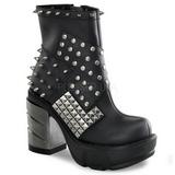 svart 9 cm SINISTER-64 lolita ankelstøvler gothic platå tykke såler