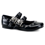 svart DAISY-03 gothic ballerinasko med flate hæl