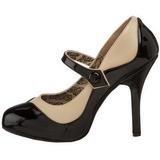 svart beige 11,5 cm TEMPT-07 høye damesko med hæl