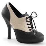 svart beige 11,5 cm retro vintage CUTIEPIE-14 Oxford pumps sko flate hæl