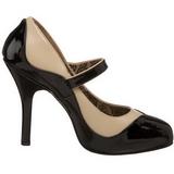 svart beige 11,5 cm rockabilly TEMPT-07 høye damesko med hæl
