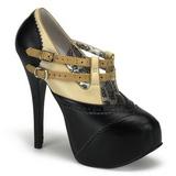 svart beige 14,5 cm Burlesque TEEZE-24 høye damesko med hæl